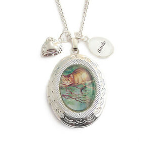 Cheshire-cat-necklace-locket-Alice-in-Wonderland-All-Mad-here-charm-tea-hatter