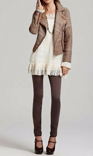 Free People Jacquard Tapestry Moto Jacket Western Deconstructed Brown F601J411