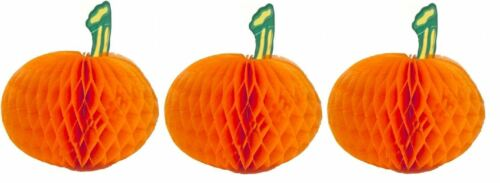 3 Halloween Honeycomb Pumpkins Bag Garden Home Party Table Paper Table Fun Kids