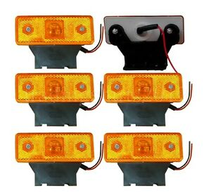6xamber Front Side Markers Lumières Led Indicateur Truck Bus C / W Support En...