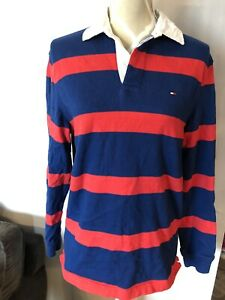 Blue Red Stripe Polo Golf Rugby Shirt