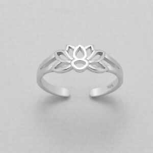 Details About 925 Sterling Silver Lotus Flower Adjustable Toe Midi Ring Organza Gift Bag Uk