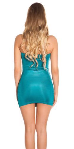 Mini abito vestito donna corto aderente strass scollo fascia cuore disco nuovo