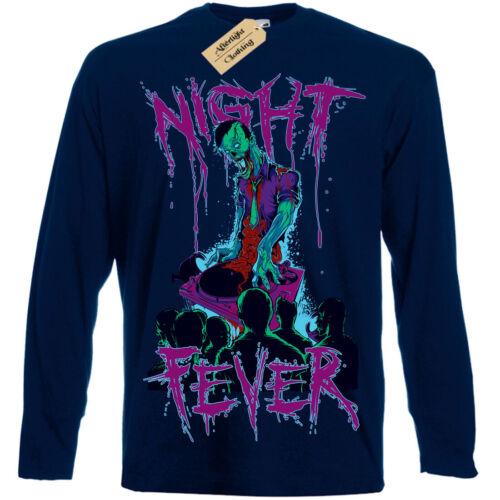 Night Fever T-Shirt Zombie Dj Rave Club Pour Homme à Manches Longues