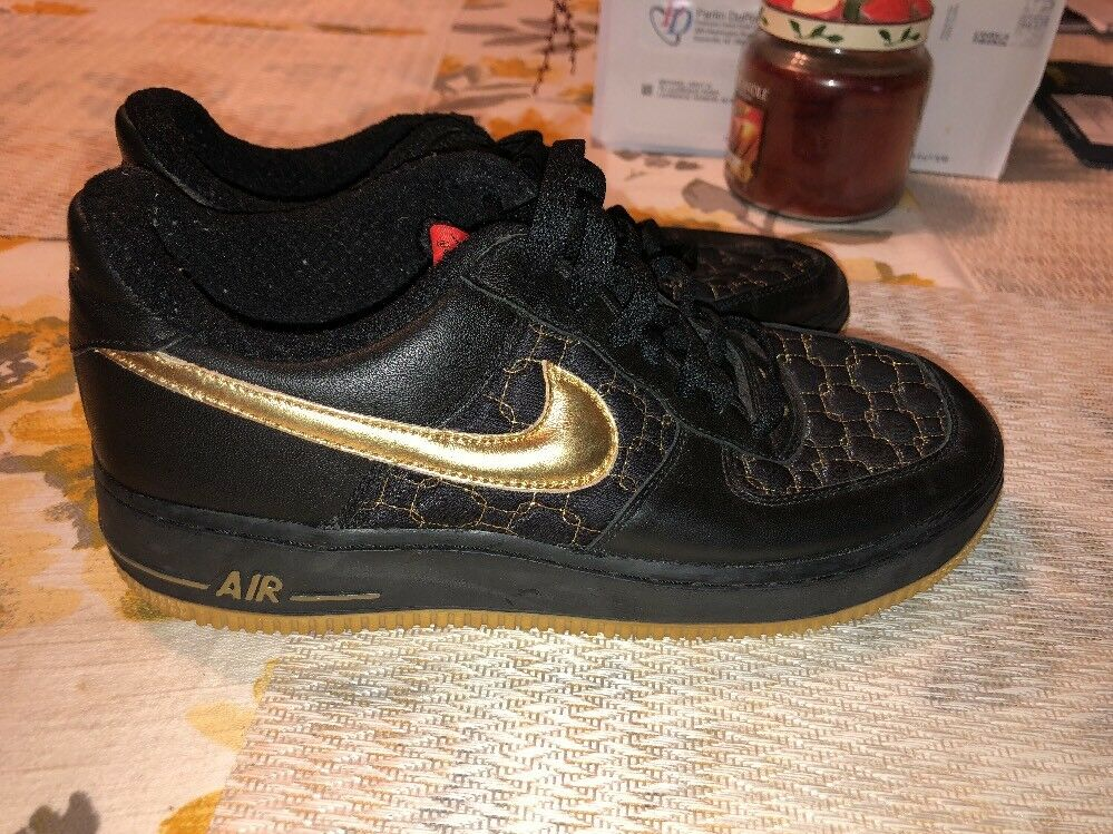 Nike Air Force 1 Negro / Metallic Metallic / Oro Max temporada 307109-071 confortable despacho venta 56aee9