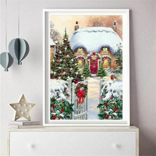Winter Christmas Diamond Painting House Design Pattern Full Square Drill Display