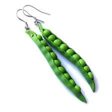 Funky Handmade Peas Peapod Green Earrings Jewelry Vegan Vegetarian Food Gifts