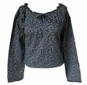 Navy-Floral-Ditsy-Patterned-Long-Sleeve-Cotton-Top-Blouse-Size-8-10-12