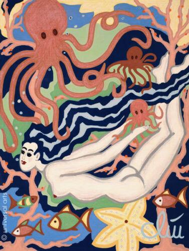 Swimming in Octopus/'s Garden A4 DRUCK n.Gemälde Bild Akt Bilder JACQUELINE DITT