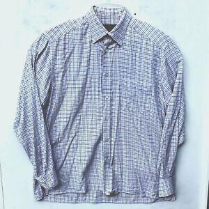 Ermenegildo-Zegna-Mens-Large-Brown-Blue-Plaid-Check-Button-Down-Casual-Shirt