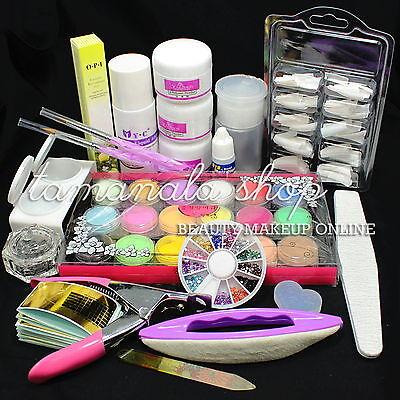 Pro Ful Nail Art Acrylic Liquid Powder Tips Glue Rhinestone Pen Tool Makeup Kit