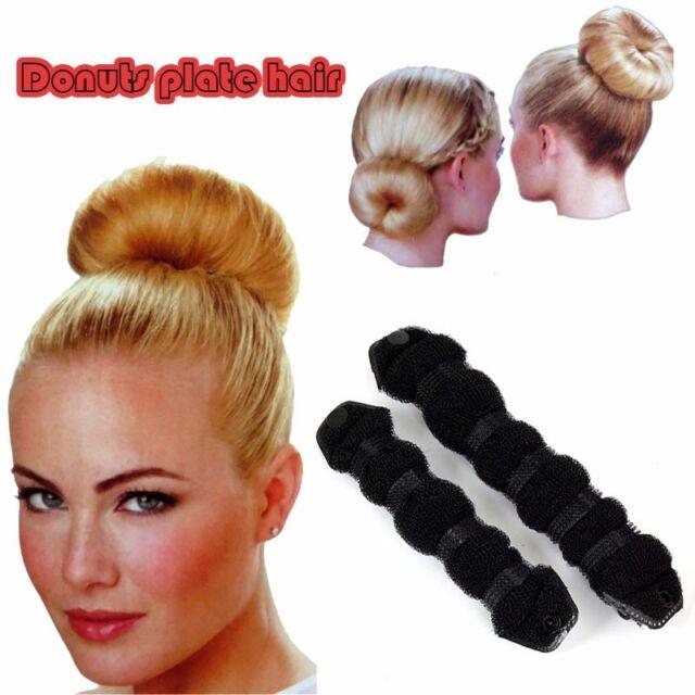 2Pcs Hair Styling Sponge Donut Bun Maker Magic Former Ring Shaper Styler Tool