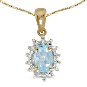 14k-Yellow-Gold-Oval-Aquamarine-And-Diamond-Pendant-with-18-034-Chain