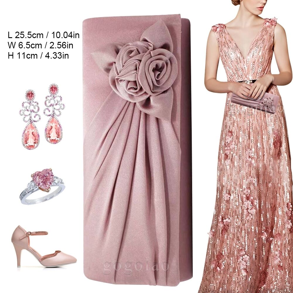 Ladies Satin Clutch Bag With Rose Evening Wedding Party Prom Bridal Handbag 8