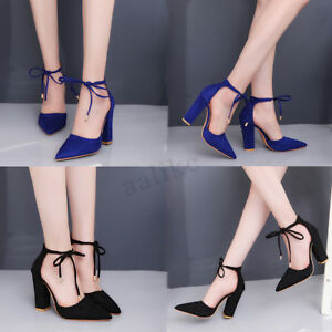 7ae1501f6326 Summer Women High Heel Pumps Ankle Strap Sexy Block Sandals Lace Up ...
