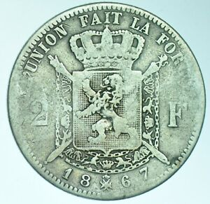 BELGIUM-LEOPOLD-II-2-FRANCS-1867-WITH-CROSS-ON-CROWN-SILVER-COIN-FINE