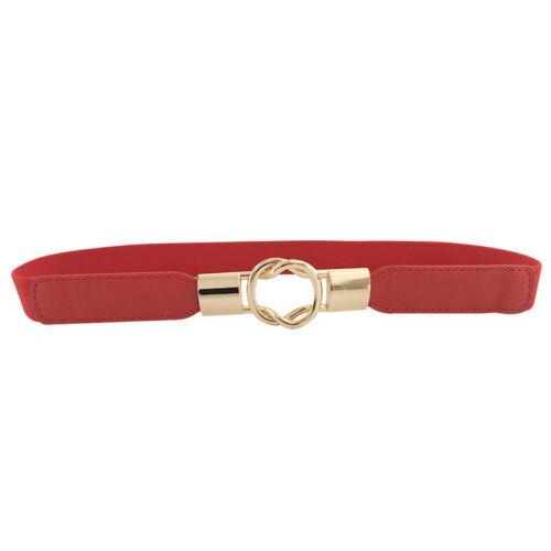 Women Girls Elasticated Skinny Thin Waist Belt Buckle Adjustable Waistband Strap