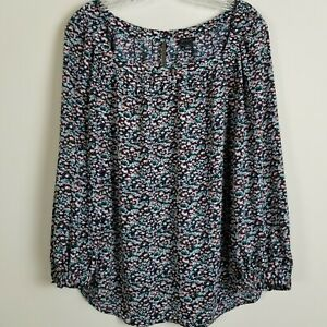 Ann-Taylor-Ditsy-Floral-Blouse-Top-Womens-Med-3-4-Sleeve-Square-Neck-Black-Multi