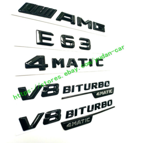 "For Mercedes Benz Emblems Badge Decoration ""AMG+E63+4Matic+BITURBO"" Gloss Black"