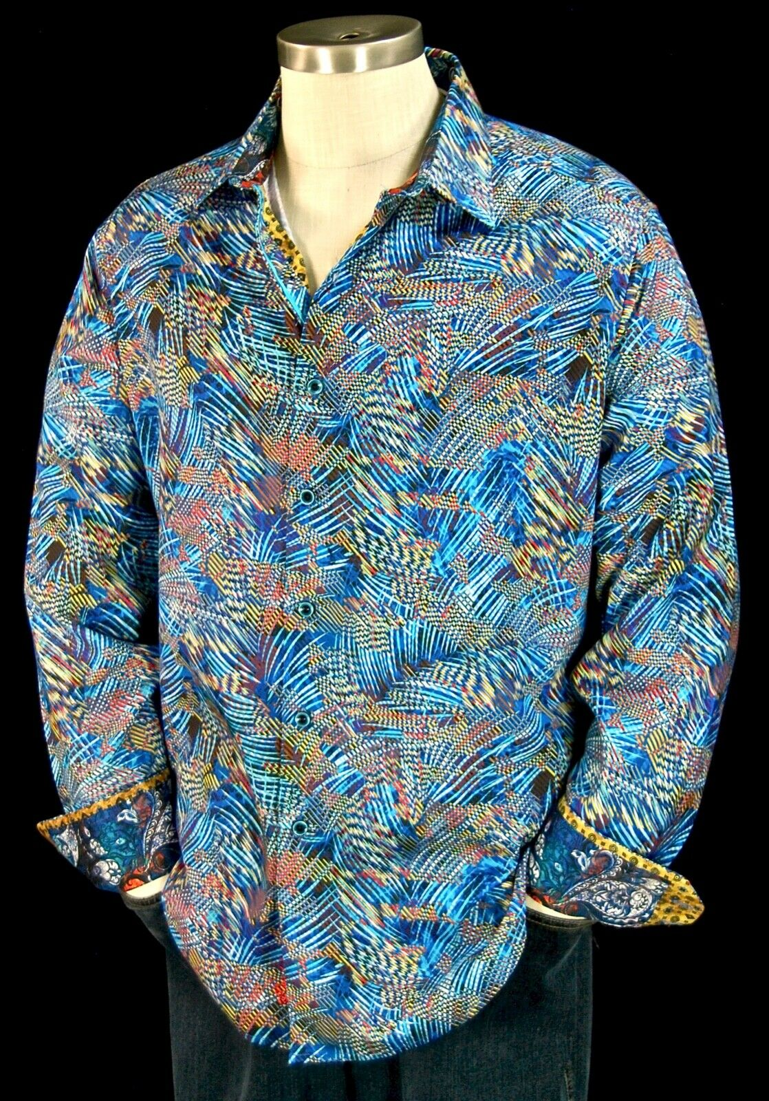 Robert Graham  Del Norte  NWT  278 Abstract Thatched Sports Shirt XL