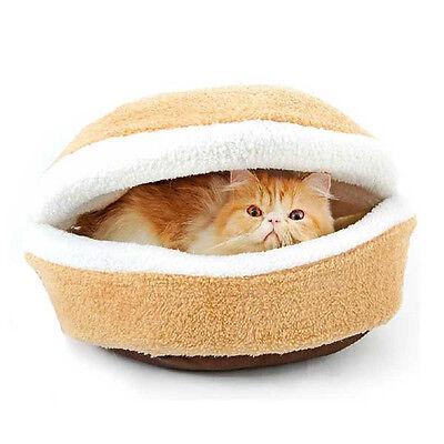 Shell Cat Hamburger Pet Sleeping  Bed Kitty Burger Pillow Bed House