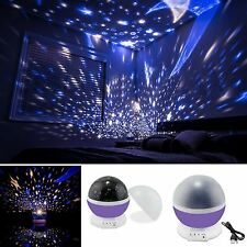 BABY NIGHT LIGHT Projector Star Moon Romantic Rotating Cosmos Kids Room LED Lamp