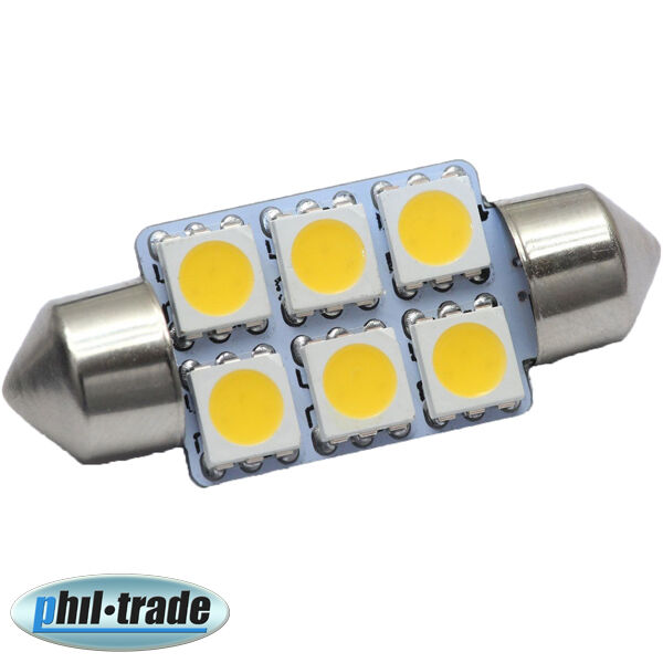 LED POWER 36mm Soffitte Lampe warm weiss 6 x 5050 SMD 12V Innenraum Beleuchtung