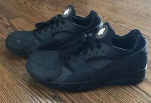 official photos a7f11 e5aa2 Image is loading Nike-Air-Flight-Huarache-Triple-Black-Sneakers-Shoes-