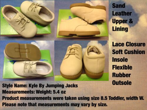Jumping Jacks Boys Sand Leather Lace Oxford Dress Shoes Toddler Size 4.5 to 7