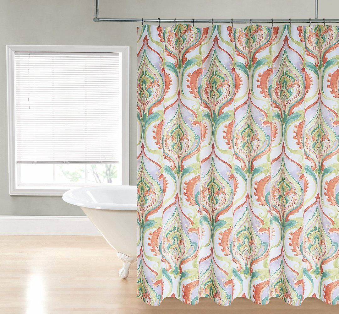 Orange Green Purple White Watercolor Damask Devon Fabric Shower Curtain