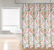 Orange Green Purple White Watercolor Damask Devon Fabric Shower Curtain