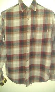 Eddie-Bauer-Shirt-Men-039-s-Long-Sleeve-Button-Down-Plaid-Flannel-Size-large