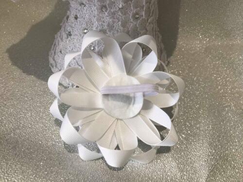 Pair Alice inspired white rose handmade Harajuku romany hair bows bobbles//clip