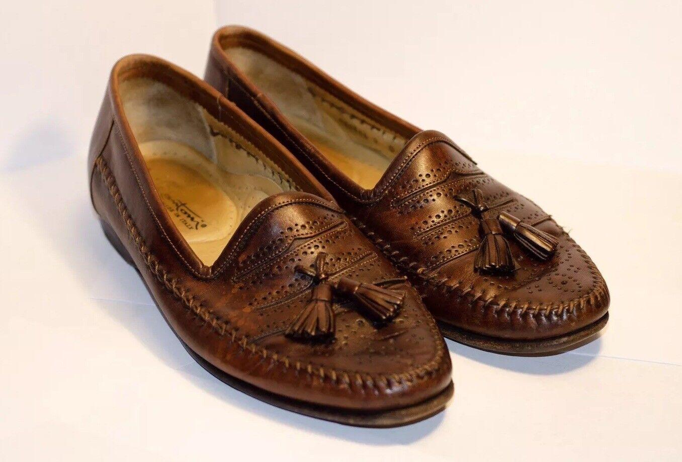 Men's Tassel Santoni Brown Leather Hand-crafted Tassel Men's Slip-on Loafer's 7D bb2f6b