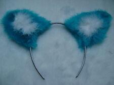 Turquoise Blue Fox Ears Faux Fur & Marabou Trim Fancy Dress - All Colours