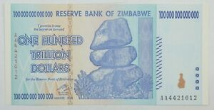 3 AA P-91 UNC CONSECUTIVE 2008 100 TRILLION DOLLARS RESERVE BANK OF ZIMBABWE