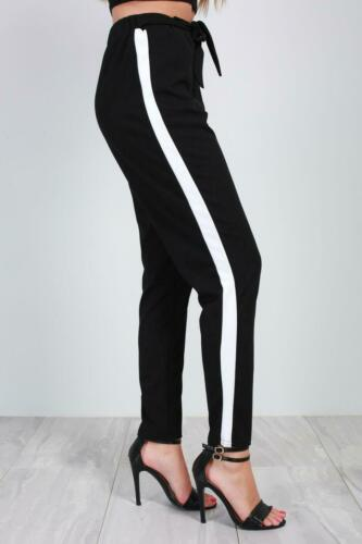 Ladies Belted Paper Bag Cigratte Side Stripes Tie High Waisted Womens Trousers