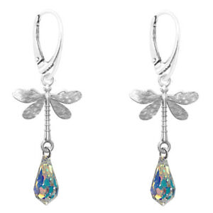 Fashions-Forever-925-Sterling-Silver-Dragon-Fly-gota-de-cristal-pendientes-criolla