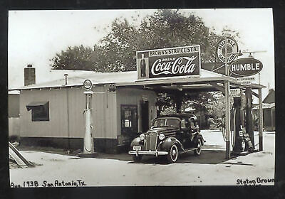 Real Photo San Antonio Texas Humble Gas Station Coca Cola