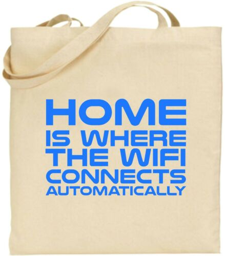 Details about  /Home Is Where The WiFi Connects Large Cotton Tote Bag Online Internet Xmas Gift