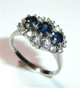 Ring 960 Platinum - 0.34 CT Diamonds/Diamonds If + Sapphire Size:55-56 New 6,9 G