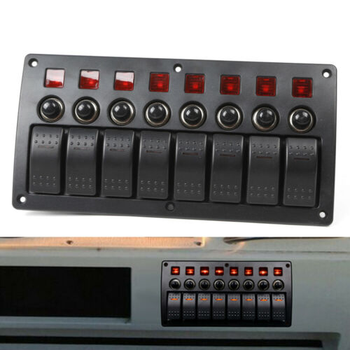 DE DC12//24V 8 Gang LED Schaltpaneel Schalter Schalttafel Schaltpanel für Boot