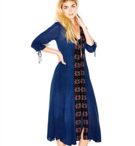 Free People Journey To The Horizon Dress in Royal Blau Größe 2