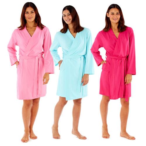 Fucsia Talla 8-22 menta 100/% algodón jersey señoras vestido de Kimono Bata Envoltura rosa