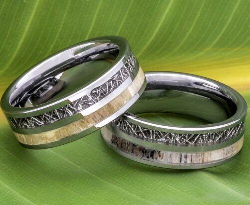 Deer Antler Ring Black Meteorite Inlay Tungsten Wedding Band 8mm Comfort Fit
