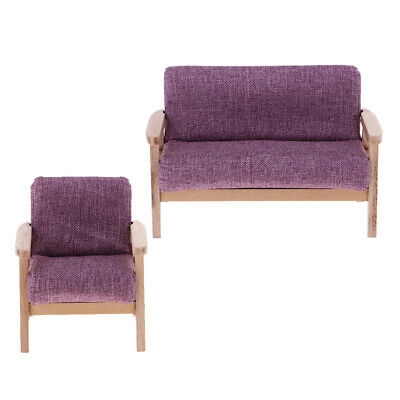 Stupendous Purple Sofa Miniature Set 1 12 Scale Dollhouse Furniture Model Decor 2Pcs Ebay Ibusinesslaw Wood Chair Design Ideas Ibusinesslaworg
