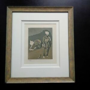 Foujita-aquatint-etching-signed-numbered-1926-two-women-frame-perfect-condition