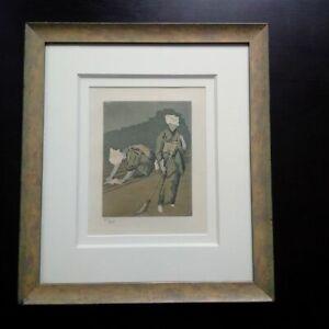 Foujita-aquatinte-1926-gravure-signee-numerotee-deux-femmes-cadre-etat-parfait