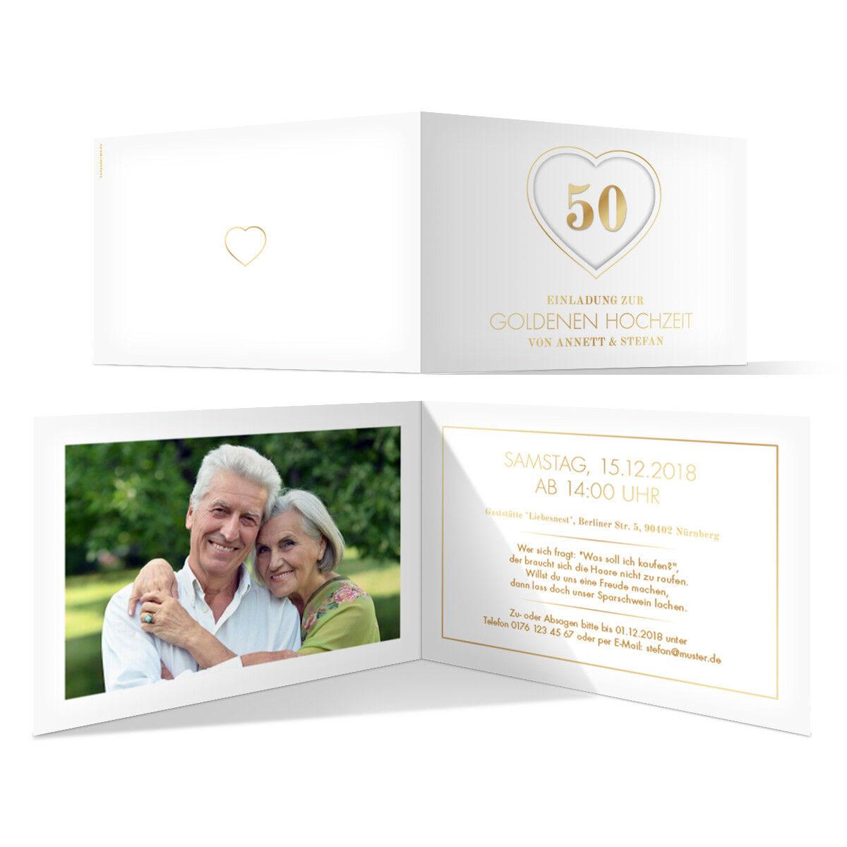 Goldene Hochzeit Einladungskarten Einladungen 50 Jahre - Jubiläums-Herz
