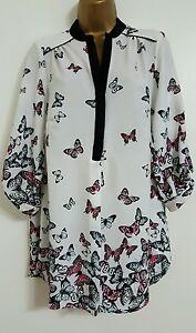 NEW-Plus-Size-16-28-Butterfly-Print-White-Pink-Black-Chiffon-Top-Blouse